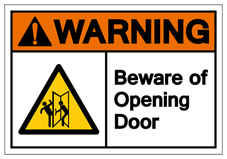 Warning Beware Of Opening Door Symbol Sign, Vector Illustration, Isolate On White Background Label. EPS10