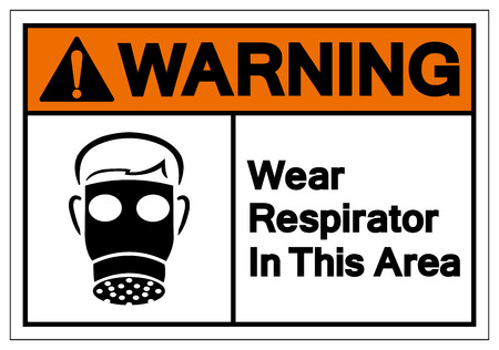 Warning Wear Respirator In This Area Symbol Sign, Vector Illustration, Isolate On White Background Label. EPS10 Illustration