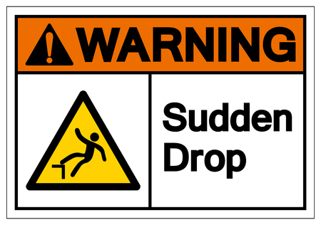 Warning Sudden Drop Symbol Sign,Vector Illustration, Isolated On White Background Label. EPS10 Stok Fotoğraf - 124069084