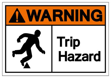 Warning Trip Hazard Symbol Sign, Vector Illustration, Isolate On White Background Label. EPS10 Çizim