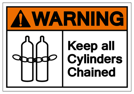 Warning Keep all cylinders chained Symbol Sign, Vector Illustration, Isolate On White Background Label .EPS10 向量圖像