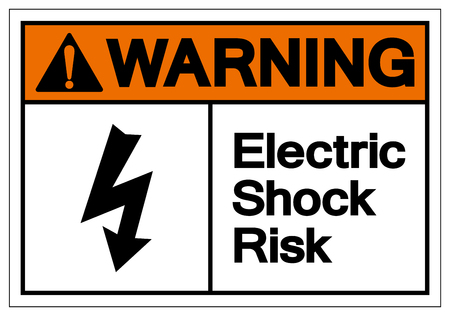 Warning Electric Shock Risk Symbol Sign, Vector Illustration, Isolate On White Background Label .EPS10 Vettoriali