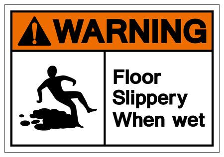 Plancher d'avertissement glissant lorsque le signe de symbole mouillé, Illustration vectorielle, isoler sur l'étiquette de fond blanc. EPS10 Vecteurs