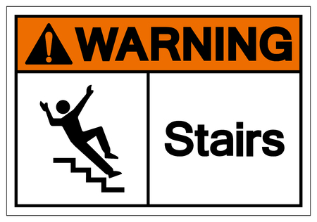 Warning Stairs Symbol Sign, Vector Illustration, Isolated On White Background Label .EPS10 Stok Fotoğraf - 124070313