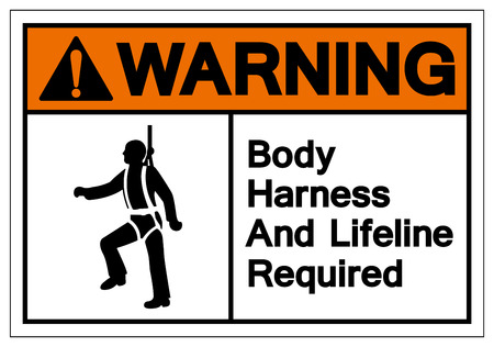 Warning Body Harness And Lifeline Required Symbol Sign, Vector Illustration, Isolate On White Background Label. EPS10