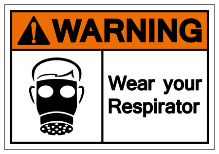 Warning Wear Your Respirator Symbol Sign, Vector Illustration, Isolate On White Background Label. EPS10