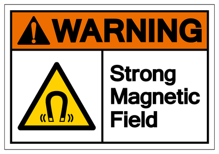 Warning Magnetic Field Symbol Sign, Vector Illustration, Isolate On White Background Label. EPS10