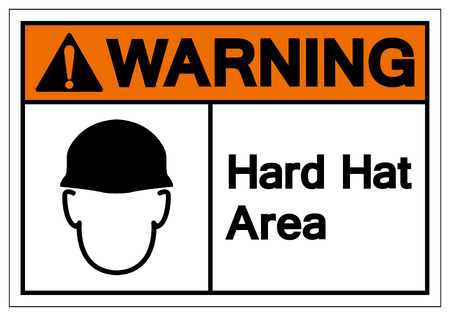 Warning Hard Hat Area Symbol Sign, Vector Illustration, Isolate On White Background Label. EPS10