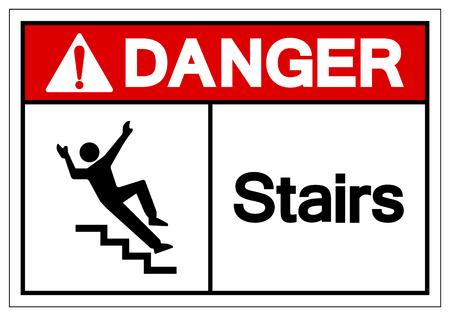 Danger Stairs Symbol Sign, Vector Illustration, Isolate On White Background Label. EPS10 Stok Fotoğraf - 124046825