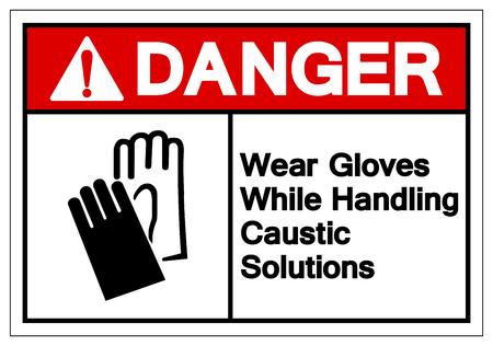 Danger porter des gants lors de la manipulation du signe du symbole des solutions caustiques, illustration vectorielle, isoler sur l'étiquette de fond blanc. EPS10