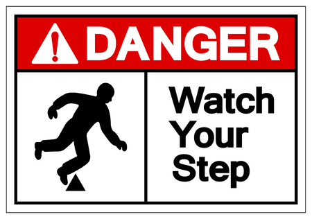Gefahr Beobachten Sie Ihr Schritt-Symbol-Zeichen, Vektor-Illustration, isolieren Sie auf weißem Hintergrund-Etikett. EPS10