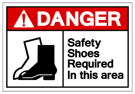 Danger Safety Shoes Required In This Area Symbol Sign, Vector Illustration, Isolate On White Background Label. EPS10 Stockfoto - 124046840