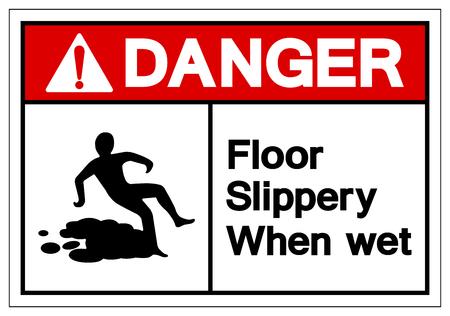 Danger Floor Slippery When Wet Symbol Sign, Vector Illustration, Isolate On White Background Label. EPS10 Stok Fotoğraf - 124046842