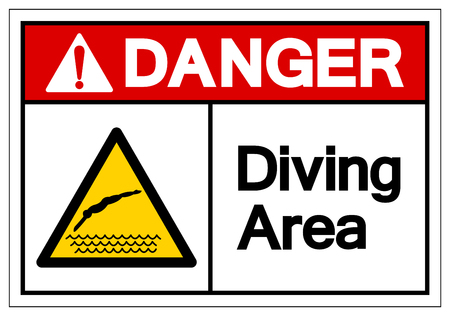 Danger Diving Area Symbol Sign, Vector Illustration, Isolate On White Background Label. EPS10