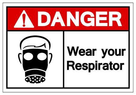 Danger Wear Your Respirator Symbol Sign, Vector Illustration, Isolate On White Background Label. EPS10 Illustration