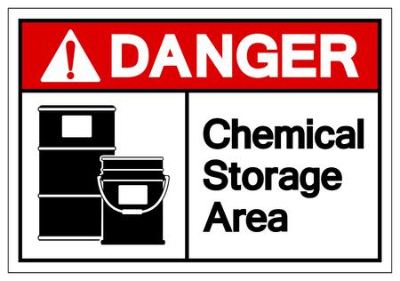 Pericolo chimico area di stoccaggio simbolo segno, illustrazione vettoriale, isolare su sfondo bianco etichetta. EPS10 Vettoriali