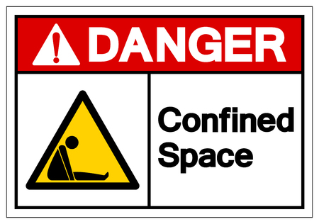 Danger Confined Space Symbol Sign ,Vector Illustration, Isolate On White Background Label. EPS10 Vectores