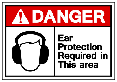 Danger Ear Protection Required In This Area Symbol Sign,Vector Illustration, Isolate On White Background Label. EPS10