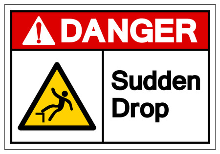 Danger Sudden Drop Symbol Sign, Vector Illustration, Isolated On White Background Label. EPS10 Stok Fotoğraf - 124046903
