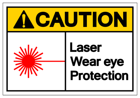 Caution Laser Wear Eye Protection Symbol Sign, Vector Illustration, Isolate On White Background Label. EPS10