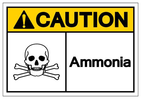 Caution Ammonia Symbol Sign, Vector Illustration, Isolate On White Background Label .EPS10 Illustration