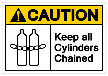Caution Keep all cylinders chained Symbol Sign, Vector Illustration, Isolate On White Background Label .EPS10 Illustration