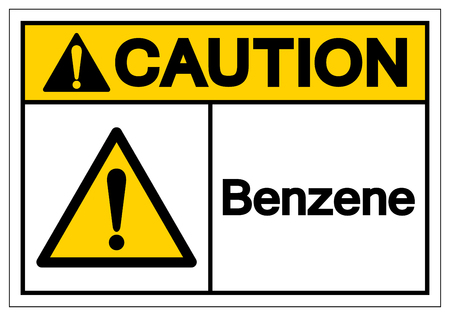 Caution Benzene Symbol Sign, Vector Illustration, Isolate On White Background Label .EPS10