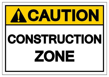 Achtung Bau Zone Symbol Zeichen, Vektor-Illustration, auf weißem Hintergrund-Label isolieren. EPS10 Vektorgrafik