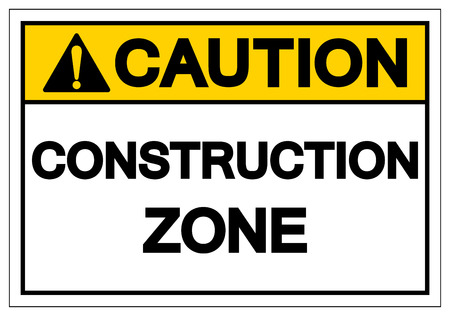 Caution Construction Zone Symbol Sign, Vector Illustration, Isolate On White Background Label. EPS10