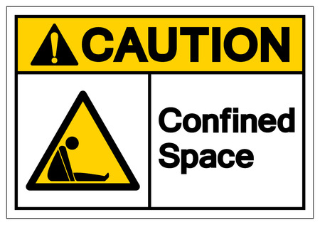 Caution Confined Space Symbol Sign ,Vector Illustration, Isolate On White Background Label. EPS10