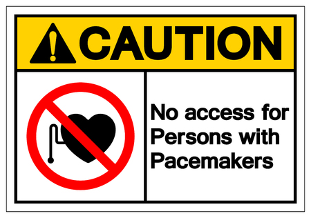 Caution No Access For Persons With Pacemaker Symbol Sign ,Vector Illustration, Isolate On White Background Label. EPS10