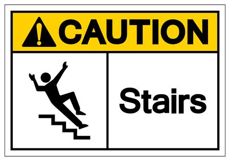 Attention Escaliers Symbole Signe, Illustration Vectorielle, Isoler Sur L'étiquette De Fond Blanc. EPS10