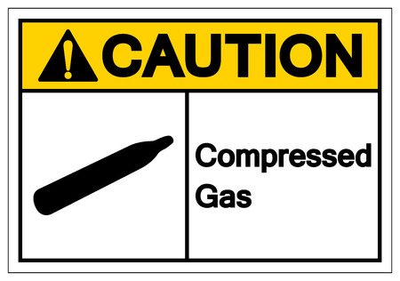 Caution Compressed Gas Symbol Sign, Vector Illustration, Isolate On White Background Label. EPS10 Çizim