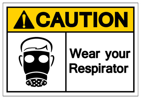 Caution Wear Your Respirator Symbol Sign, Vector Illustration, Isolate On White Background Label. EPS10 Illustration