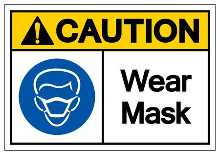 Caution Wear Mask Symbol Sign, Vector Illustration, Isolate On White Background Label .EPS10 Vector Illustratie