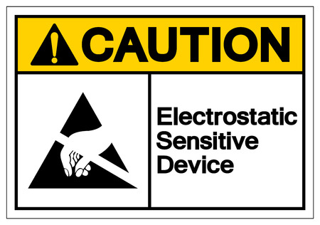 Caution Electrostatic Sensitive Device (ESD) Symbol Sign, Vector Illustration, Isolate On White Background Label. EPS10 Vectores