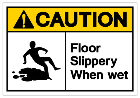Caution Floor Slippery When Wet Symbol Sign, Vector Illustration, Isolate On White Background Label. EPS10 Stok Fotoğraf - 123970244