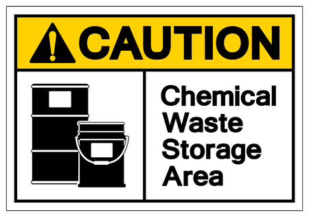 Caution Chemical Waste Storage Area Symbol Sign, Vector Illustration, Isolate On White Background Label .EPS10