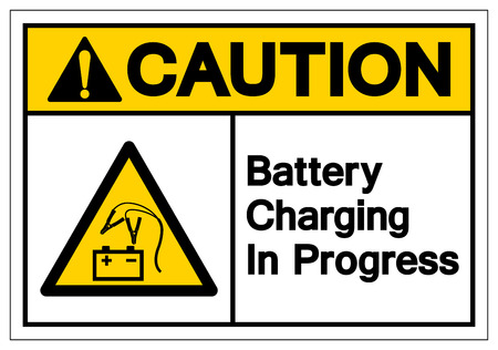 Caution Battery Charging In Progress Symbol Sign, Vector Illustration, Isolate On White Background Label. EPS10