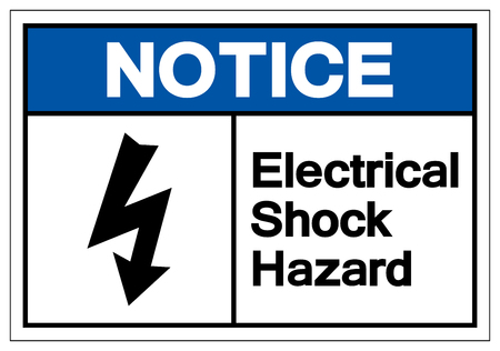 Notice Electrical Shock Hazard Symbol Sign, Vector Illustration, Isolate On White Background Label .EPS10