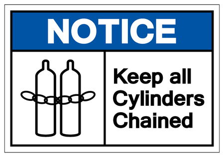 Notice Keep all cylinders chained Symbol Sign, Vector Illustration, Isolate On White Background Label .EPS10 Ilustração