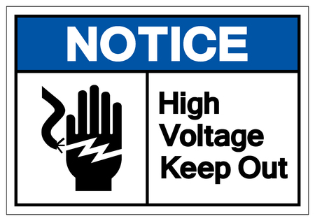 Notice High Voltage Keep Out Symbol Sign, Vector Illustration, Isolate On White Background Label .EPS10