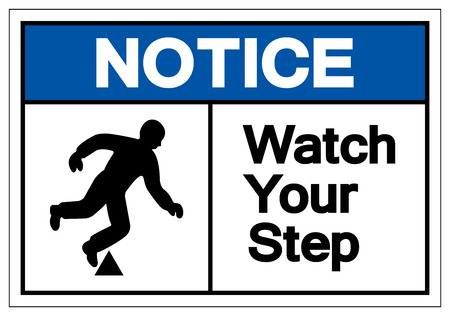 Notice Watch Your Step Symbol Sign, Vector Illustration, Isolate On White Background Label. EPS10 Stok Fotoğraf - 123929141
