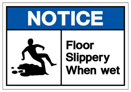 Notice Floor Slippery When Wet Symbol Sign, Vector Illustration, Isolate On White Background Label. EPS10 Stok Fotoğraf - 123929145