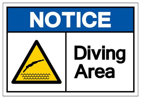 Notice Diving Area Symbol Sign, Vector Illustration, Isolate On White Background Label. EPS10 Ilustração