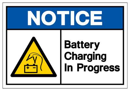Notice Battery Charging In Progress Symbol Sign, Vector Illustration, Isolate On White Background Label. EPS10