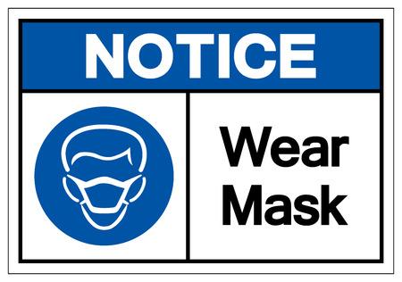 Avis Porter Masque Symbole Signe, Illustration Vectorielle, Isoler Sur L'étiquette De Fond Blanc. EPS10