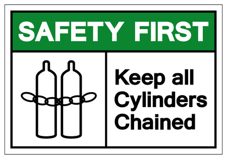 Safety First Keep all cylinders chained Symbol Sign, Vector Illustration, Isolate On White Background Label .EPS10