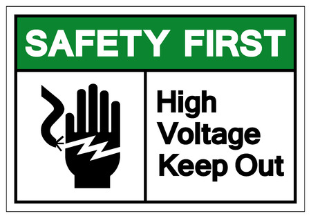 Safety First High Voltage Keep Out Symbol Sign, Vector Illustration, Isolate On White Background Label .EPS10 Illustration