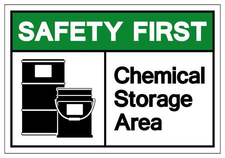 Sicurezza prima area di stoccaggio di sostanze chimiche simbolo segno, illustrazione vettoriale, isolare su sfondo bianco etichetta. EPS10 Vettoriali